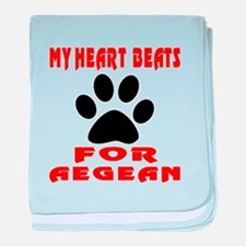 My Heart Beats For Aegean Cat baby blanket