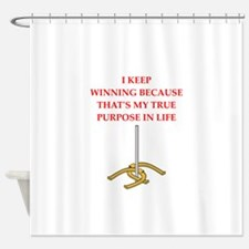 horseshoes joke Shower Curtain