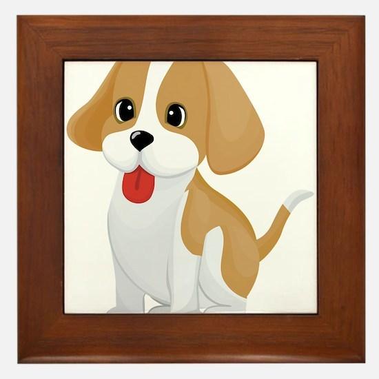 Cute dog cartoon Framed Tile
