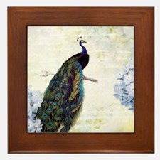 Peacock and hydrangea Framed Tile