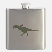 Dinosaur Cowboy Flask