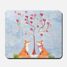 Tree of LOVE - 2 foxes under the love tr Mousepad