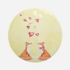Fox LOve Round Ornament