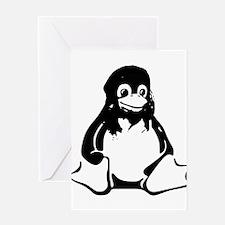 Tux penguin sitting clip art Greeting Cards