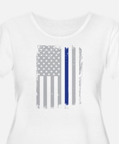 Thin Blue Line Flag Plus Size T-Shirt
