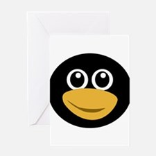Funny tux face Greeting Cards