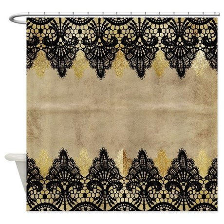 black and gold lace on grungy old p shower curtain by