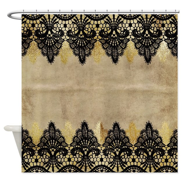 Black And Gold Lace On Grungy Old P Shower Curtain By Admin CP129071891