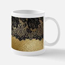 Black lace on gold Mugs