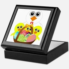 Funny chicken with a basket full of E Keepsake Box
