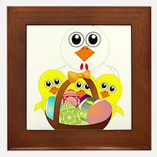 Funny chicken with a basket full of Ea Framed Tile