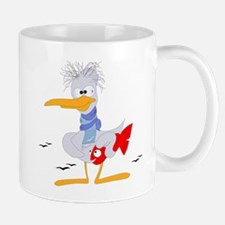 Old crane holding a fish clip art Mugs
