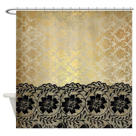 Black Lace On Gold Vintage Damask B Shower Curtain By
