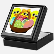 Funny chicks cartoon with Easter eggs Keepsake Box