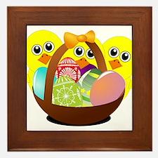 Funny chicks cartoon with Easter eggs Framed Tile