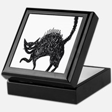 Line art painted cat Keepsake Box