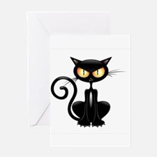 Amusing black cat Greeting Cards