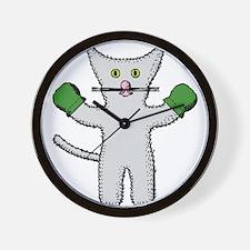 Kitten with mittens clip art Wall Clock
