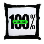 100% Green Throw Pillow
