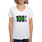 100% Green Women's V-Neck T-Shirt
