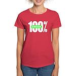 Women's 100% Green Tee-Shirt Dark Colored