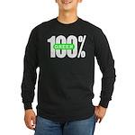 100% Green Long Sleeve Dark T-Shirt