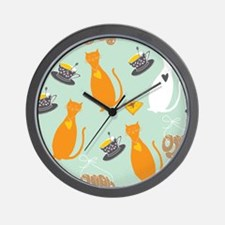 Cartoon cat background Wall Clock