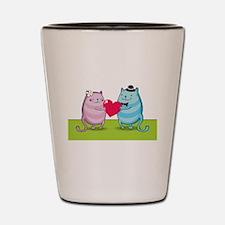 Valentine cats Shot Glass