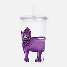 Cartoon purple cat Acrylic Double-wall Tumbler