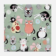 Funny cartoon cat design pattern Tile Coaster