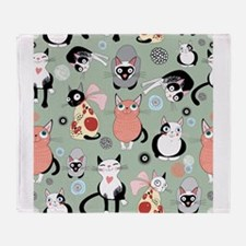 Funny cartoon cat design pattern Throw Blanket