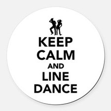 Keep calm and line dance Round Car Magnet