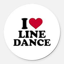 I love line dance Round Car Magnet