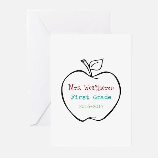 Colorized Custom Teachers Apple Greeting Cards