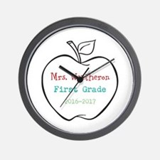Colorized Custom Teachers Apple Wall Clock