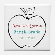 Colorized Custom Teachers Apple Tile Coaster