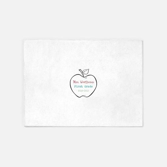 Colorized Custom Teachers Apple 5'x7'Area Rug