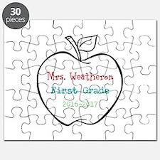 Colorized Custom Teachers Apple Puzzle