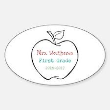 Colorized Custom Teachers Apple Decal
