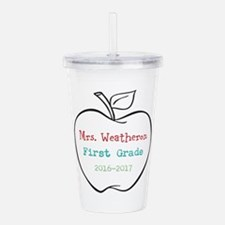 Colorized Custom Teachers Apple Acrylic Double-wal