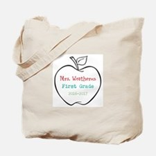 Colorized Custom Teachers Apple Tote Bag