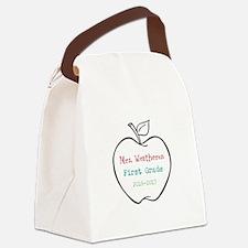 Colorized Custom Teachers Apple Canvas Lunch Bag