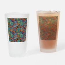 Colorful Retro Paisley Pattern Drinking Glass