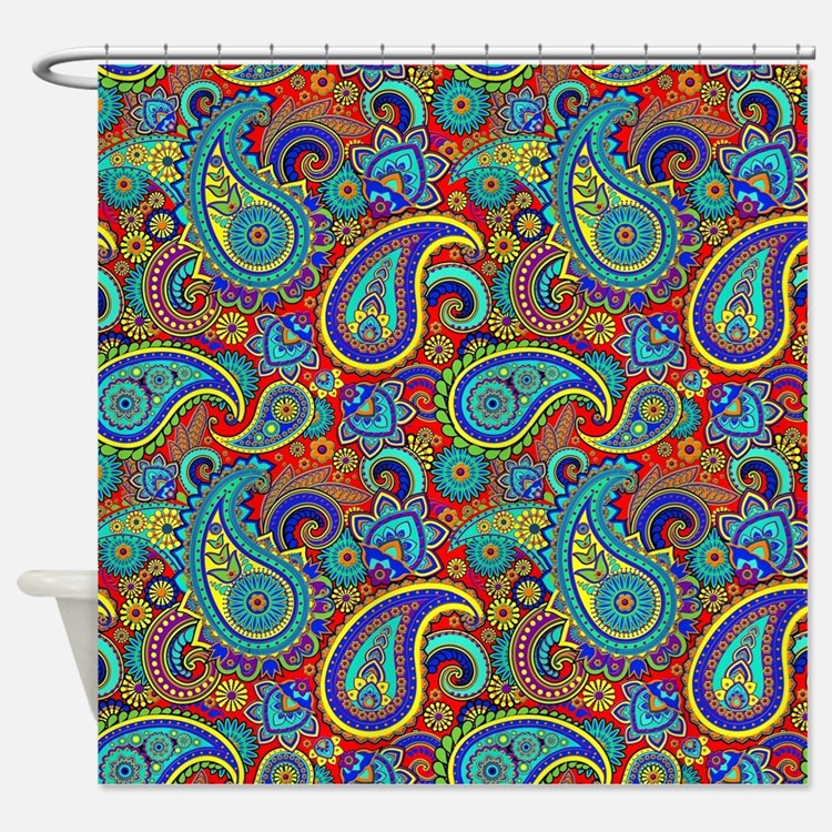 Paisley Blue Shower Curtains Paisley Blue Fabric Shower