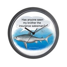 Insurance Salesman Shark Wall Clock