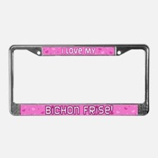 Pink Polka Dot Bichon Frise License Plate Frame