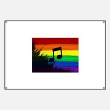 Musical note gay rainbow art Banner