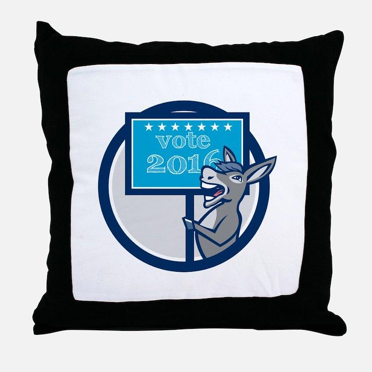 Vote 2016 Democrat Donkey Mascot Circle Cartoon Th