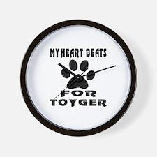 My Heart Beats For Toyger Cat Wall Clock
