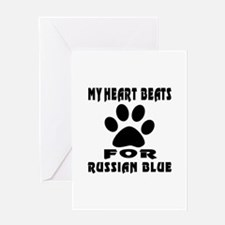 My Heart Beats For Russian Blue Cat Greeting Card